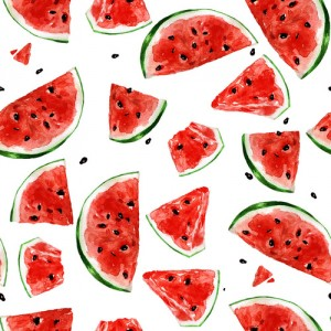 Juicy Watermelon. Watercolor seamless pattern.